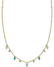 "Stone Dangle 18"" Statement Necklace in Gold-Plated Sterling Silver"