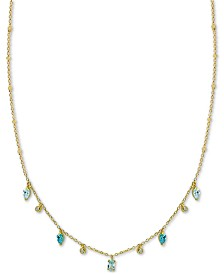 "Argento Vivo Stone Dangle 18"" Statement Necklace in Gold-Plated Sterling Silver"