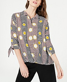 Petite Geometric-Print Blouse, Created for Macy's