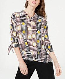 Alfani Petite Geometric-Print Blouse, Created for Macy's