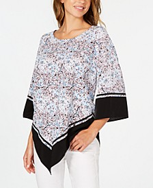 Petite Printed Poncho Blouse, Created for Macy's