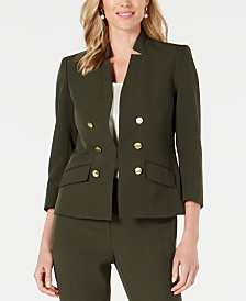 Kasper Stand-Collar Double-Breasted Blazer