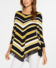 Alfani Striped Pointed-Hem Top, Created for Macy's