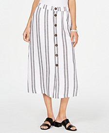 Striped Button-Front Skirt, Created for Macy's