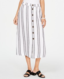 Alfani Striped Button-Front Skirt, Created for Macy's