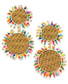 I.N.C. Gold-Tone Multi-Bead and Rattan Double Circle Drop Earrings, Created for Macy's