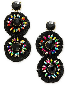 I.N.C. Gold-Tone Crystal & Multicolor Bead Fringe Circle Drop Earrings, Created for Macy's