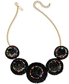 """I.N.C. Gold-Tone Multicolor Beaded Circle Statement Necklace, 18"""" + 3"""" extender, Created for Macy's"""