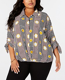 Plus Size Printed Tie-Cuff Blouse, Created for Macy's