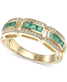 Emerald (3/4 ct. t.w.) & Diamond (1/5 ct. t.w.) Ring in 14k Gold(Also Available In Certified Ruby & Sapphire)