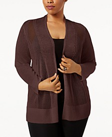 Plus Size Mixed-Stitch Open-Front Cardigan, Created for Macy's