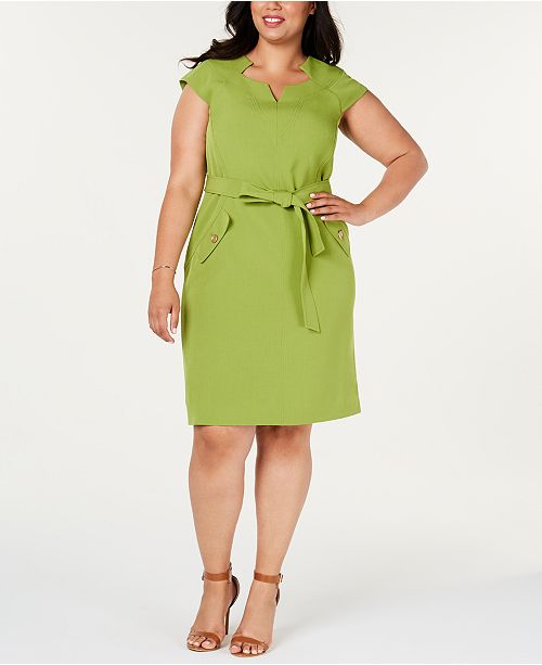 Kasper Plus Size Belted Sheath Dress & Reviews - Dresses ...