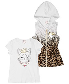 Big Girls 2-Pc. Cheetah-Print Hooded Vest & Cat-Print T-Shirt Set