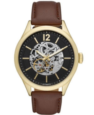 Mens Brown Strap Automatic Watch 46mm
