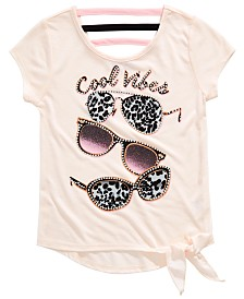 Beautees Big Girls Sunglasses-Print Tie-Front Top