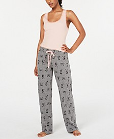 Lace-Trim Pajama Tank Top and Novelty Pant