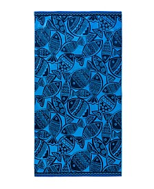 Caro Home Woodcut Fish Beach Towel