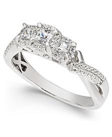 Diamond Princess Halo Three Stone Engagement Ring (1/2 ct. t.w.) in 14k White Gold