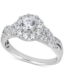 Diamond Halo Twist Engagement Ring (1 ct. t.w.) in 14k White Gold