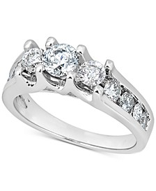Diamond Three-Stone Channel-Set Engagement Ring (1-1/2 ct. t.w.) in 14k White Gold