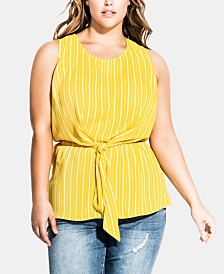 City Chic Trendy Plus Size Striped Tie-Front Top