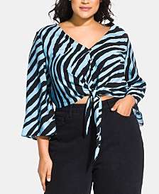 City Chic Trendy Plus Size Zebra Tie Top
