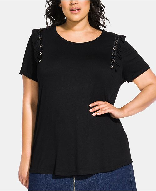 City Chic Trendy Plus Size Ruffle Ring Top
