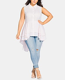Trendy Plus Size Flutter High-Low Top