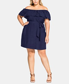 City Chic Trendy Plus Size Belted Off-The-Shoulder Dress