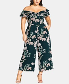 City Chic Trendy Plus Size Fresh Field Floral-Print Jumpsuit