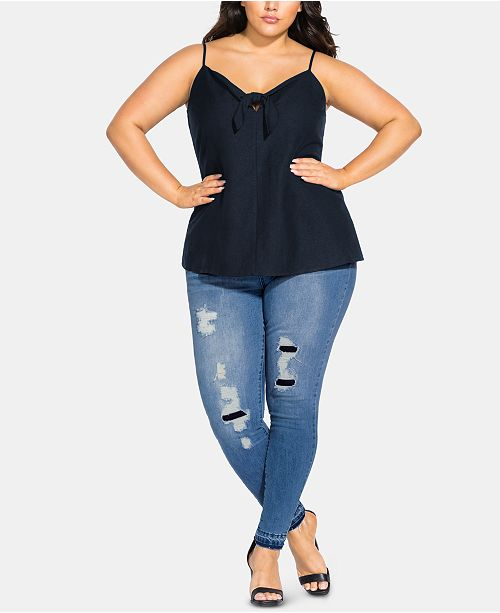 City Chic Trendy Plus Size Cheeky Bow Top