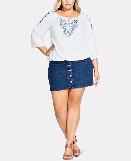 City Chic Trendy Plus Size Fleur Detail Top