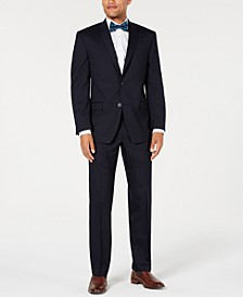 by Andrew Marc Men's Modern-Fit Stretch Navy Solid Suit