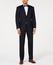 Marc New York by Andrew Marc Men's Modern-Fit Stretch Navy Solid Suit
