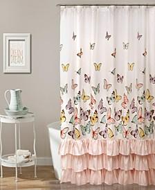 """Flutter Butterfly 72"""" x 72"""" Shower Curtain"""