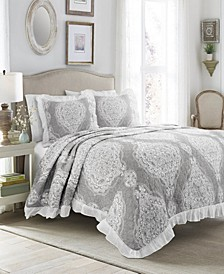 Lucianna Ruffle Edge Cotton 3Pc Full/Queen Bedspread Set