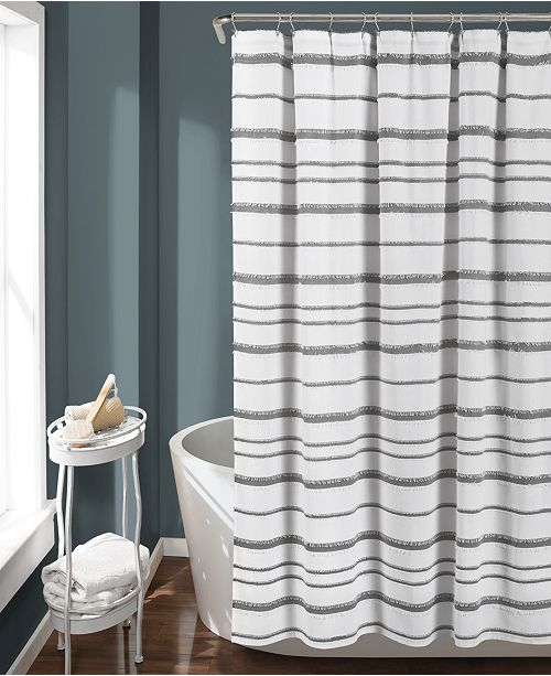 "Lush Decor Stripe Clip Jacquard 72"" x 72"" Shower Curtain"