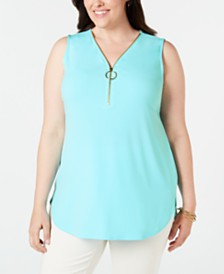 JM Collection Plus Size Zip-Up Tank, Created for Macy's