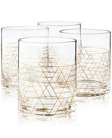 Hotel Collection Gold Decal Double Old-Fashioned Glasses, Set of 4, Created for Macy's