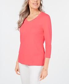 Karen Scott Cotton V-Neck Button-Trim Top, Created for Macy's