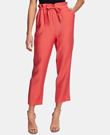 CeCe Paperbag-Waist Straight-Leg Pants