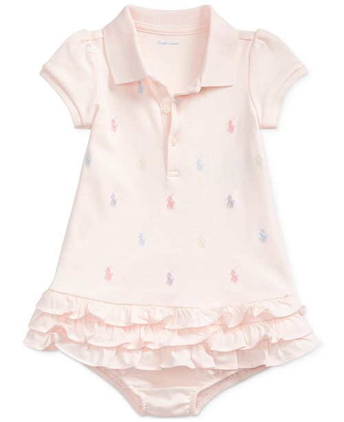 264ceb86 Ralph Lauren Baby Girls Embroidered Polo Dress