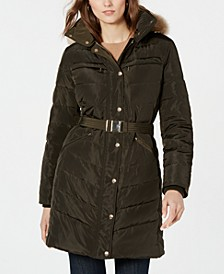 Belted Faux-Fur-Trim Down Puffer Coat, Created for Macy's