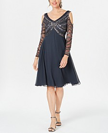 Embellished Cold-Shoulder A-Line Dress