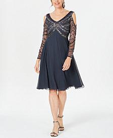 J Kara Embellished Cold-Shoulder A-Line Dress