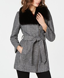 I.N.C. Faux-Fur-Collar Belted Plaid Coat, Created for Macys