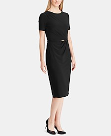 Lauren Ralph Lauren Petite Belted Short-Sleeve Jersey Dress