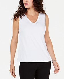 JM Collection Glitter-Trim Tank Top, Created for Macys