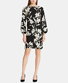 Lauren Ralph Lauren Floral-Print Peasant-Sleeve Crepe Dress