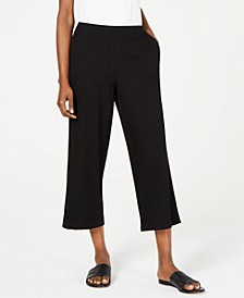 Ribbed Straight-Leg Cropped Pants